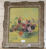 G.D. Watton, oil on board, Still life of flowers in a vase, signed, 45 x 37cm