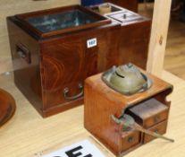 A Japanese elm hibachi and a portable smoking set width 39cm height 26cm (2)