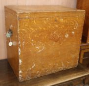 A Victorian pine silver chest with painted grain W.62cm