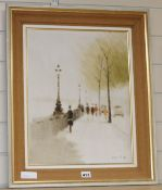 Anthony Klitz (1917-2000) oil on canvas, View along the Embankment, signed with artist stamp dated