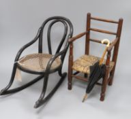Two apprentice chairs and a miniature parasol