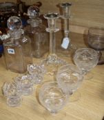 A collection of 19th and 29th century glassware to include three salts, decanters and rummers