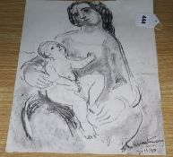 Modern British, charcoal on paper, Mother and child, signed and dated '90, 38 x 31cm, unframed
