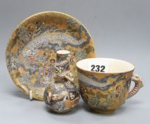 A Japanese Satsuma bottle vase and a cup and saucer