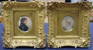 Albin Roberts Burt (1783-1842), pair of watercolour on paper miniatures of a lady and gentleman, 6.5