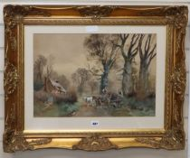 Attributed to Henry Charles Fox, watercolour, Timber cart on a lane, 36 x 52cm