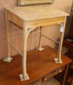 A beech student's desk W.60cm