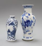 Two Chinese blue and white 'figure' vases, 19th century tallest 20cm