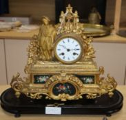 A 19th century French gilt spelter figural mantel clock height 32cm