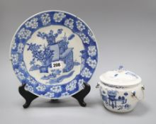 A 19th century Chinese blue and white kamcheng and a similar 'Hundred Antiques' dish