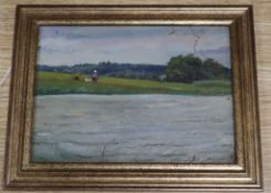 Russian School, oil on panel, Figures on a river bank, inscribed, 14 x 19cm