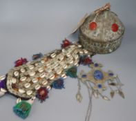 A Persian head-dress and lapis necklace
