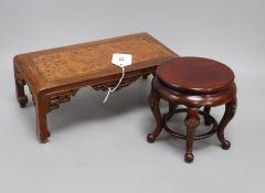 A Chinese cabriole leg wood stand and a rosewood and burr wood stand longest 30.5cm