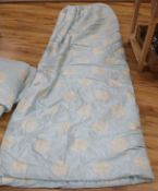 """A pair of interlined silk damask curtains, approx. 9'3"""" long, to fit window width of 8'"""