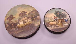Two 19th century papier mache snuff boxes largest diameter 7cm