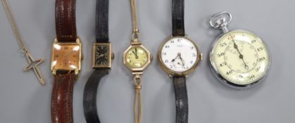 Two lady's 9ct gold wrist watches, one other 9ct gold wrist watch, a gold plated watch and a