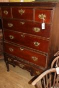 An 18th century oak chest on stand W.97cm