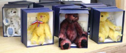 Nine boxed miniature Deans bear, certificates