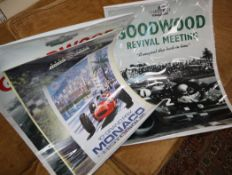 Seven Goodwood and other motor sport posters, including Revival Meet, 17-18-19 September 1999,