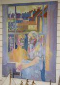 Derek Inwood, oil on canvas, Figures at a window, 121 x 91cm, unframed