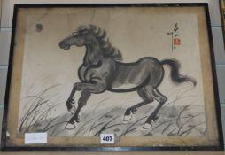 After Xu Beihong, inkwork study of a horse, 32 x 44cm