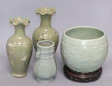 A Chinese celadon crackle glaze bowl and vase and two Korean celadon vases tallest 28cm