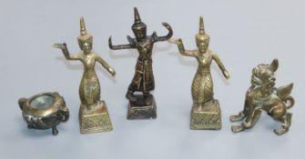 Five 20th century Thai bronzes