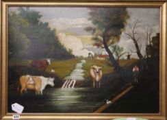 Continental School, oil on board, Naive landscape with cattle and windmill, 49 x 70cm