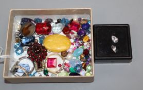 A mixed group of assorted unmounted stones including amethyst, paste, etc and other minor