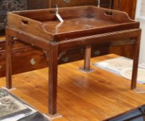 A Victorian mahogany butler's tray on later stand W.79cm