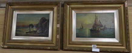E.l. Watt, pair of oils on canvas, Coastal landscapes, signed, 19 x 29cm
