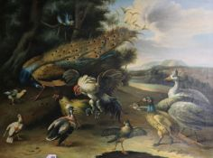 After Hondecoeter, oil on canvas, Peacock and poultry in a landscape, 91 x 122cm, unframed