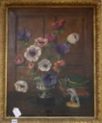 Lawrence Perugini, oil on canvas, Still life of anemones in a silver bowl, signed and dated 1930, 65