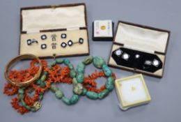 A quantity of coral turquoise and other jewellery.