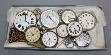 Eight assorted pocket watches including goliath, silver fob watch, Gre Roskopf patent, 800