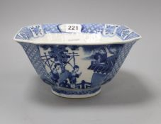 A 19th century Chinese blue and white square bowl height 11cm