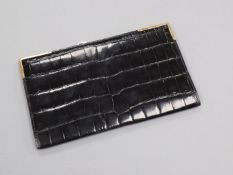 A 1960's 9ct gold mounted black leather wallet by Asprey & Co Ltd, London, 1967, 17cm.