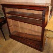 A Victorian mahogany open fronted bookcase W.122cm