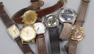 A collection of six gentlemen's assorted wrist watches, including Oris and J.W. Benson.