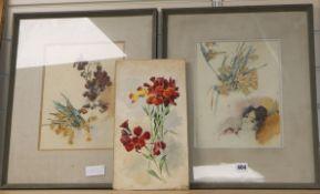 Annie Ayrton, three watercolours, Still life studies, 29 x 23cm