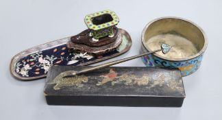 A cloisonne ink stand and pen on a stand, tray, lacquer pen box and circular cloisonne pot