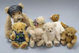Brunty Bear with certificate from RAF, a Dambuster bear dressed for flying, with six Artist bears