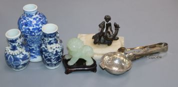 Three Oriental vases, three silver items, a bronze figure group etc