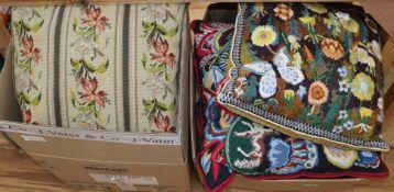Seventeen needlepoint cushions