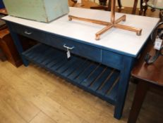 A blue painted kitchen island / table W.183cm