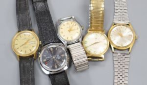 Five gentlemen's assorted wrist watches, including Oris and Roma.