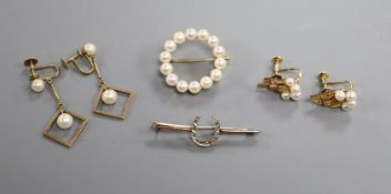 Two pairs of 14k and cultured pearl earrings, a 14k and cultured pearl brooch and a yellow metal bar