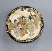 A Japanese Satsuma circular box and cover, Meiji period