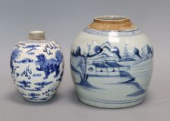 A Chinese blue and white 'lion-dog' jar, Kangxi mark but late 19th century and a 19th century blue