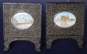 19th century Indian School, pair of oils on ivory, miniatures of The Taj Mahal and The Golden